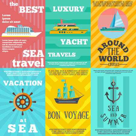 luxury travel: Best luxury yacht summer vacation travel at sea 6 flat icons composition banner abstract isolated vector illustration Illustration