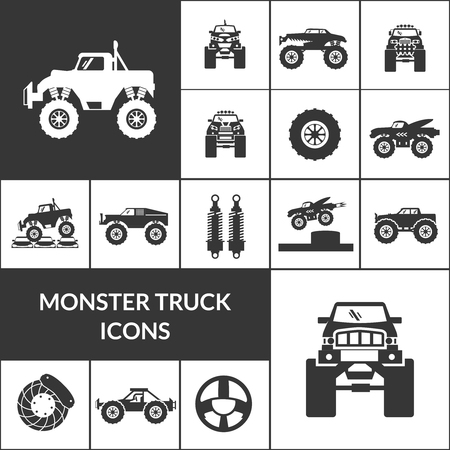 Monster truck and huge auto black icons set isolated vector illustration Illustration