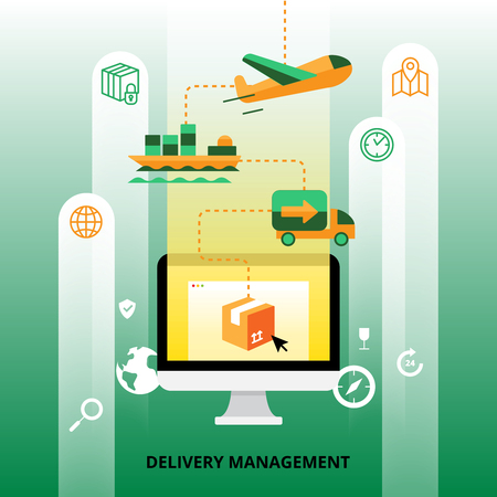 spedition: Delivery management with plane cargo ship and truck transportation flat vector illustration