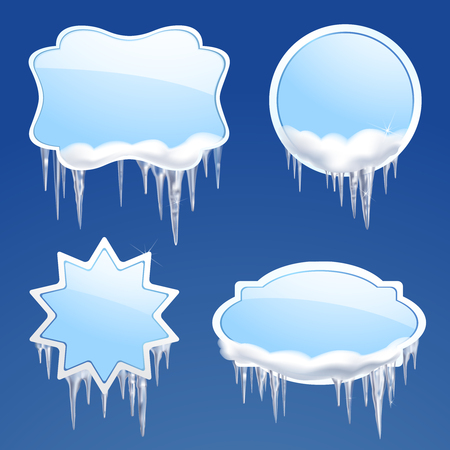 Icicle and snow realistic frames set on blue background isolated vector illustration Vector Illustration