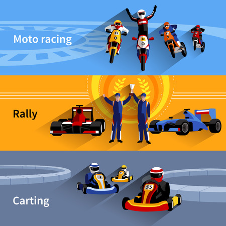 rally: Racer horizontal banners set with moto racing rally and carting symbols flat isolated vector illustration