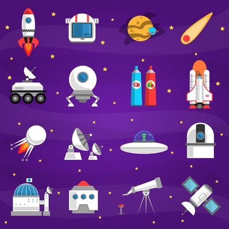 exploration: Space icons set with rocket lunar station astronaut food isolated vector illustration Illustration