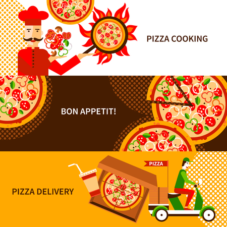 pizza dough: Online and phone orders italian pizza delivery service 3 flat horizontal banners poster abstract isolated vector illustration