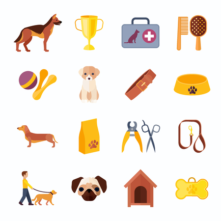 dog walk: Dogs breeds flat icons collection with veterinary kit and prize winner toy bone abstract isolated vector illustration