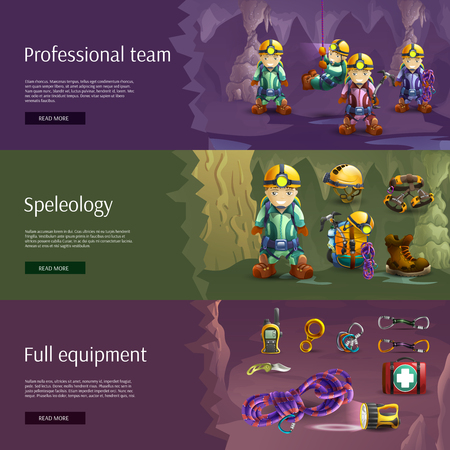 harness: Professionally equipped speleologist team tools and wear horizontal interactive internet site 3d  banners abstract vector isolated illustration