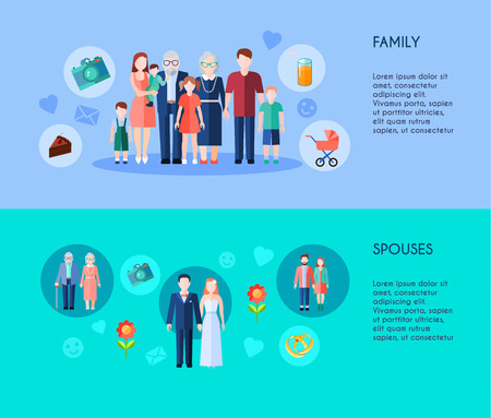spouses: Two horizontal banners of extended family with different generations members and various age spouses flat vector illustration Illustration
