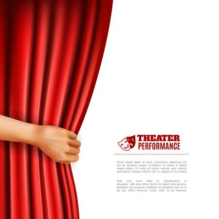 teatro mascara: Apertura de la mano cortina de teatro rojo con símbolos de rendimiento ilustración vectorial realista