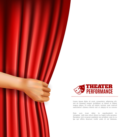 theatre symbol: Hand opening red theatre curtain with performance symbols realistic vector illustration Illustration