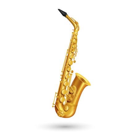 to wind: saxofón de oro sobre fondo blanco en estilo de dibujos animados ilustración vectorial aislado