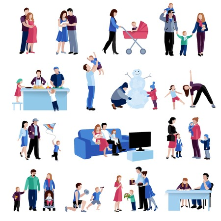 Parenting activities flat icons set with mother father children home and outdoor situations abstract isolated vector illustration Illustration
