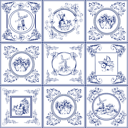 kitchen tile: Delft blue kitchen and fireplace tiles used all over the world icons collection abstract isolated vector illustration