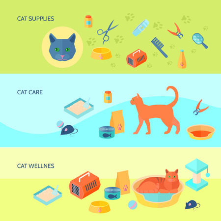 toy toilet bowl: Indoor cats food and care supplies 3 horizontal flat banners set with carrier abstract isolated vector illustration