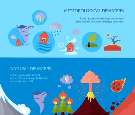 desastres naturales meteorológicos 2 banderas composición cartel con los incendios forestales y la información sobre los tsunamis resumen ilustración vectorial aislado