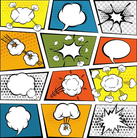 Comic book page with decorative speech bubbles set vector illustration Ilustração