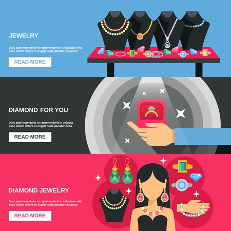 diamond background: Jewelry horizontal banners set with diamond earrings and bracelets  flat isolated vector illustration Illustration