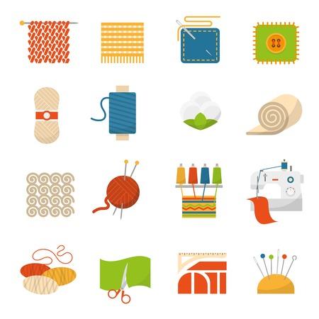 textil: iconos planos de la industria textil establecido con la ilustración vectorial símbolos fabricación de ropa aislado Vectores