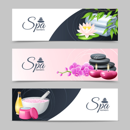 being: Spa treatment and well being horizontal banner set isolated vector illustration Illustration