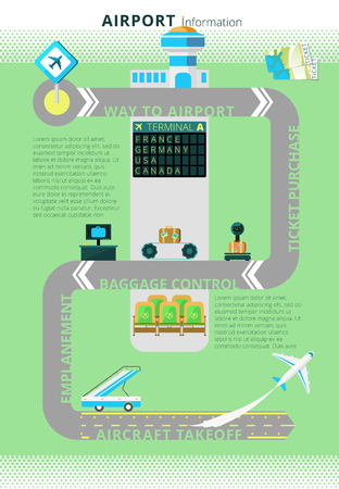 takeoff: Airport flight information board combined with digital infographic schema display at the entrance abstract vector illustration