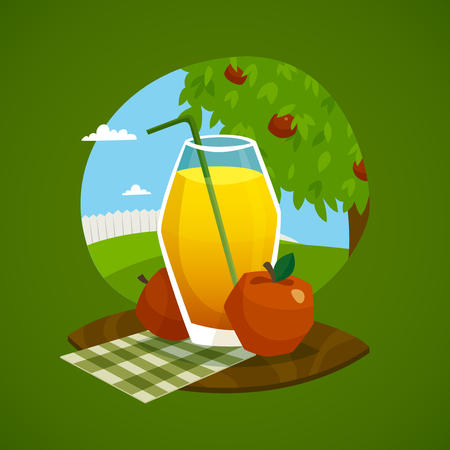manzana verde: Concepto de dise�o con un vaso de jugo fresco y manzanas en la bandeja de madera con el paisaje rural de fondo ilustraci�n vectorial