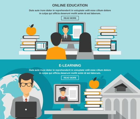 online advertising: E-learning horizontal banner set with online education elements isolated vector illustration Illustration