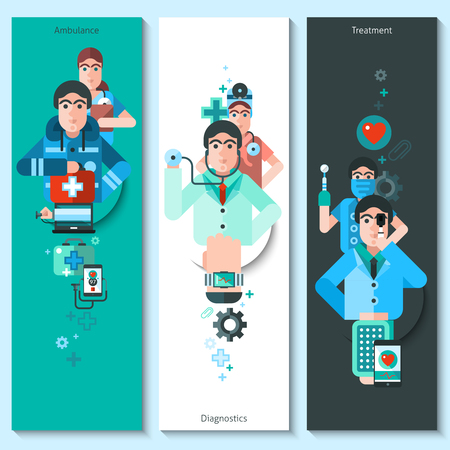 ambulancia: Conjunto de banderas verticales con los personajes que presentan el diagn�stico m�dico y de ambulancia ilustraci�n vectorial plana tratamiento