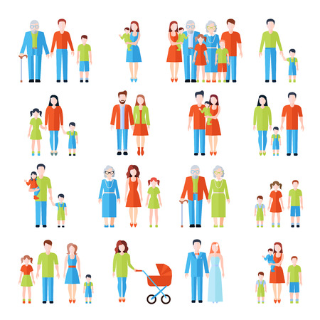 generations: Happy family three generations flat icons set with father mother grandparents and children abstract vector isolated illustration