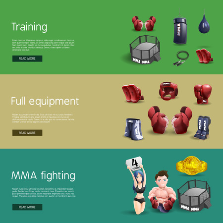 grappling: Mma fighting training full equipment and accessories interactive website 3d horizontal banners set abstract isolated vector illustration