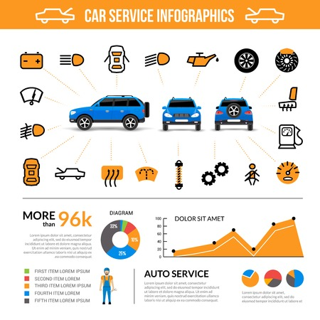 oil change: Car service infographic set with auto maintenance symbols flat vector illustration