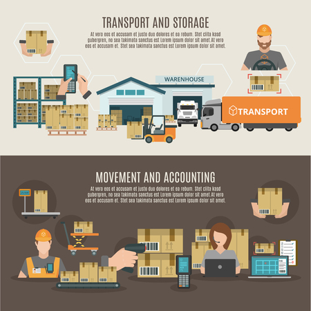 Warehouse storeroom goods transportation storage moving and accounting two flat banners composition poster abstract isolated vector illustration Illustration