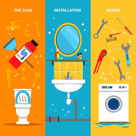 installation: Plumbing works vertical banners set with clog installation and repairs symbols flat isolated vector illustration