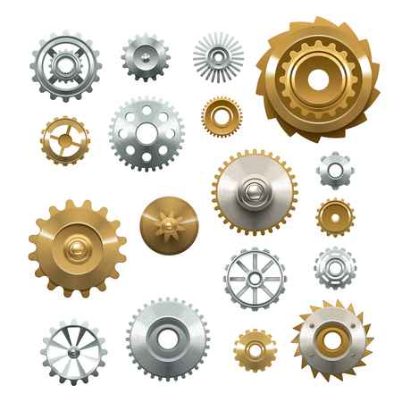 engranes: Conjunto decorativo de engranajes de metal brillante sobre fondo blanco en ilustraci�n del vector del estilo realista Vectores