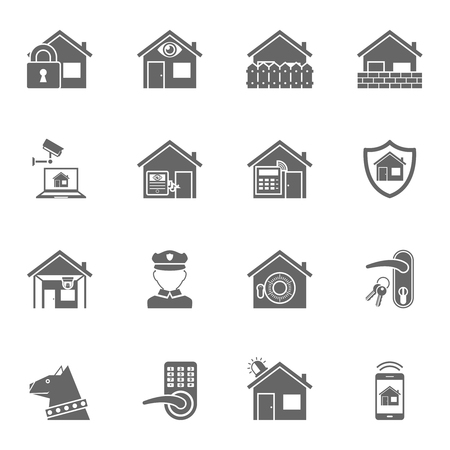 security icon: Home security protection electronic remote controlled system with shield symbol black icons set abstract isolated vector illustration