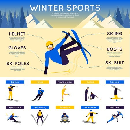 snow track: Winter sports infographics set with biathlon hockey figure skating vector illustration