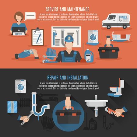 配管衛生修復インストールのメンテナンスとサービス 2 フラット バナー組成ポスター抽象的なベクトル図の修正漏れ