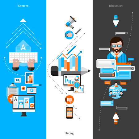 layout design template: Blogging vertical banner set with flat social media elements isolated vector illustration Illustration