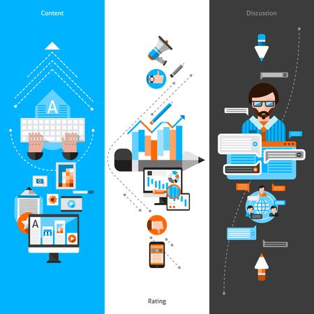 verticales: Blogging vertical de la bandera conjunto con elementos de medios sociales planas ilustración vectorial aislado