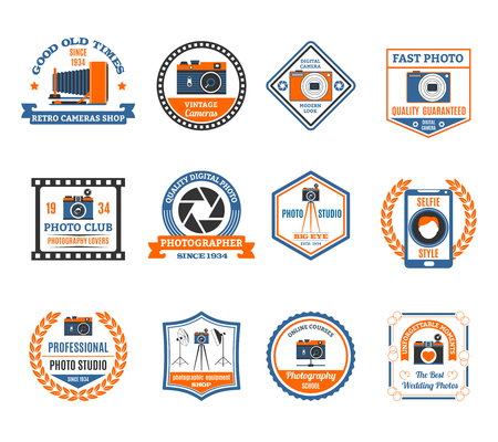 Photography emblems set with retro and modern cameras flat isolated vector illustration
