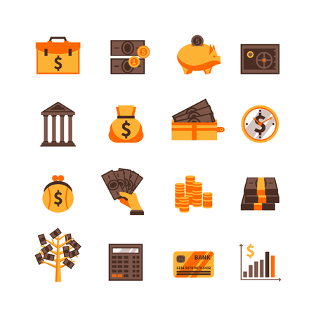 Flat color finance icons set with cash card and dollar sign isolated vector illustration Çizim
