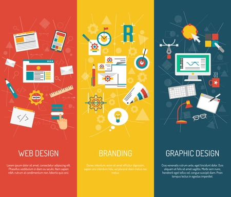 graphic art: Designer vertical banner set with web graphic design and branding elements isolated vector illustration