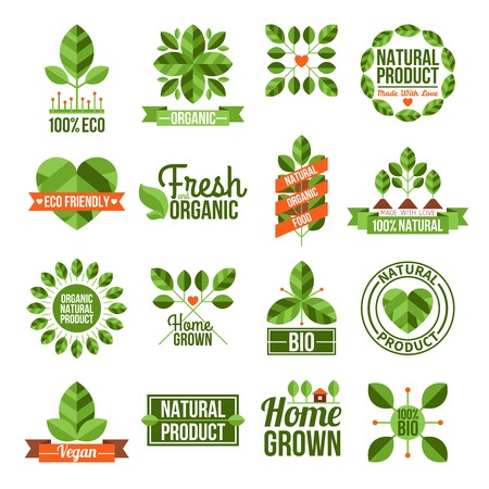 Labels and emblems flat set of organic and natural products isolated vector illustration