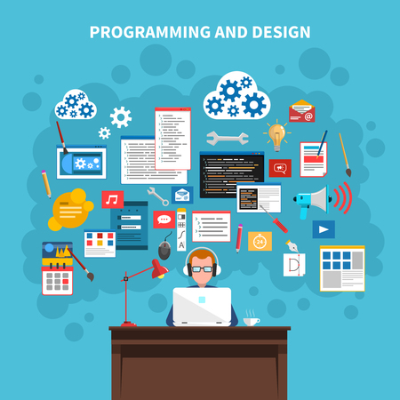 Programming and web design concept with programmer figure and website development symbols vector illustration Illustration