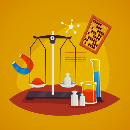 cartoon atom: Science laboratory equipment design concept with  scales weights flask  and magnet   vector illustration