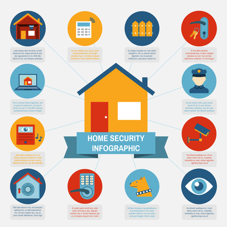 information systems: Modern computer controlled home security systems infographic banner with information and pictograms blocks abstract isolated vector illustration Illustration