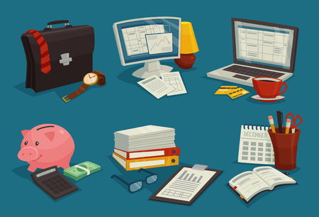 bank interior: Business cartoon icons set with elements of workplace  isolated vector illustration