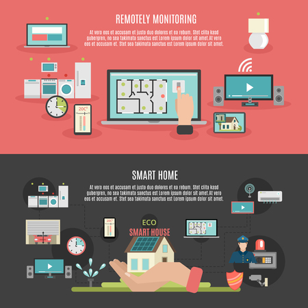 wireless internet: Smart home iot internet of things remote control and monitoring 2 flat banner isolated abstract vector illustration