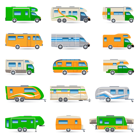 caravans: Recreational vehicles vans and caravans decorative icons set isolated vector illustration
