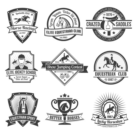 Equestrian sport black emblems set on white background isolated vector illustration.