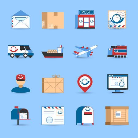 packages: Post icons set with plane train and truck transportation symbols on blue background flat isolated vector illustration