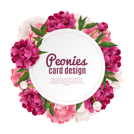 Peony round frame card design for greeting or invitation realistic vector illustration