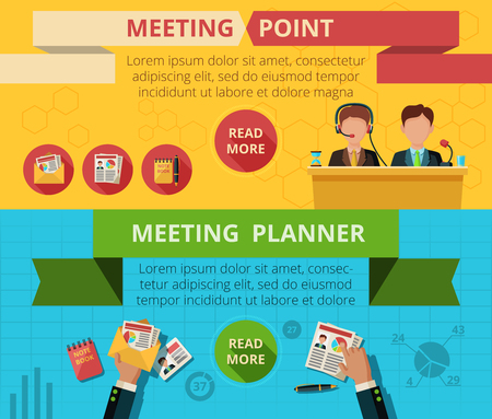 working together: Meeting horizontal banner set with planning and public speaking flat elements isolated vector illustration